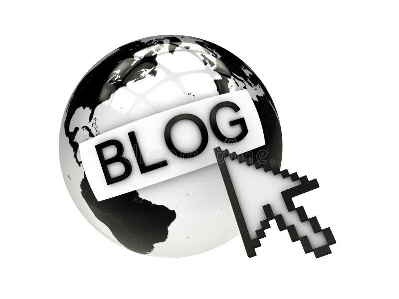 Blog met aarde en computermuis stock illustratie