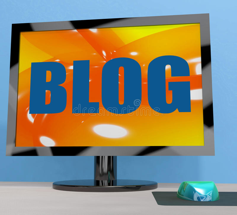 Blog On Monitor Shows Blogging Or Weblog Online royalty free illustration