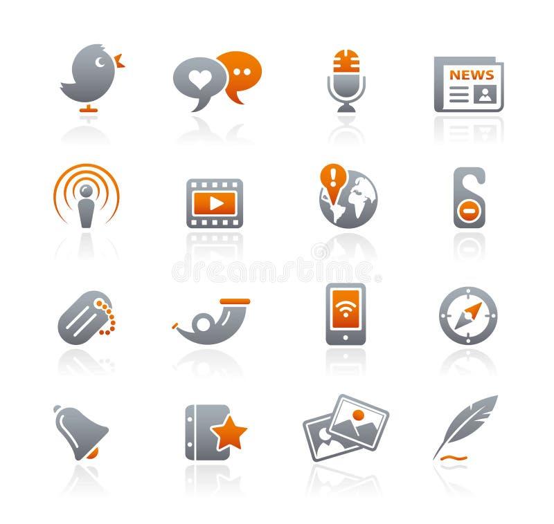 Blog & New Media // Graphite Icons Series royalty free stock photos