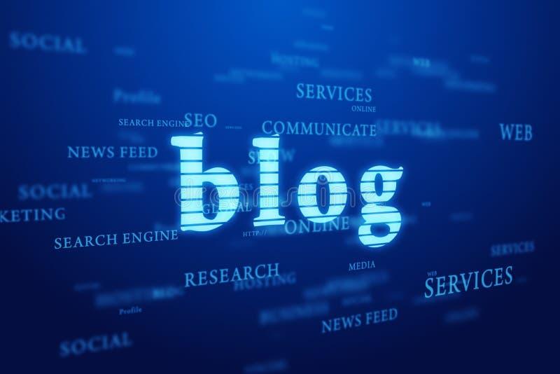 Blog. Nuage de mots sur le fond bleu. illustration libre de droits