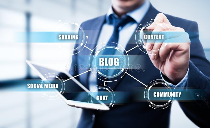 Blog Ogólnospołecznej Medialnej sieci technologii Blogging Biznesowy Internetowy pojęcie fotografia royalty free