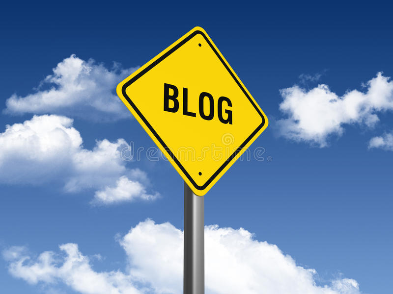 Blog Road Sign. Three dimensional illustration of Road Sign with Blog text stock illustration