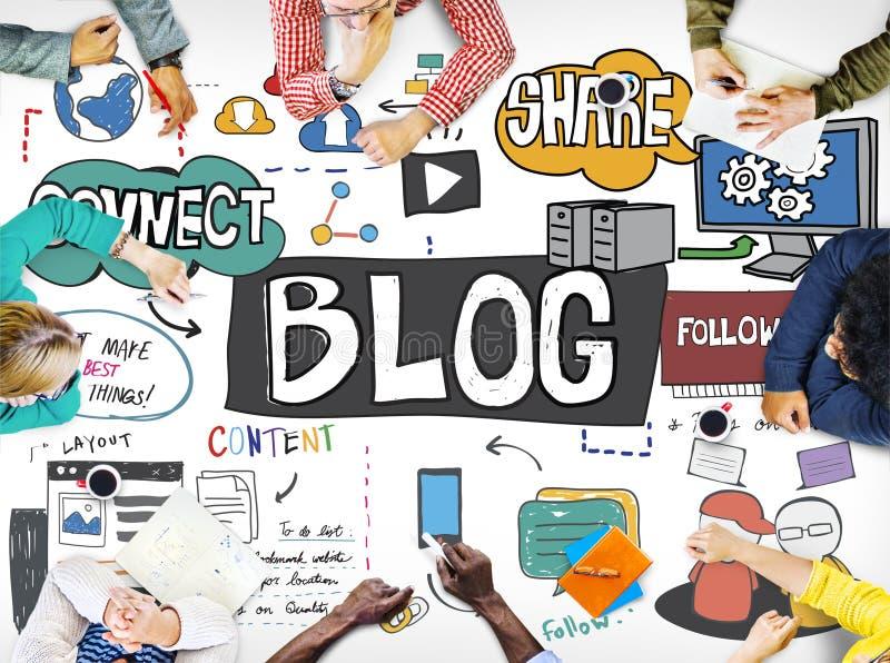 Blog Social Media Networking Content Blogging Concept royalty free illustration