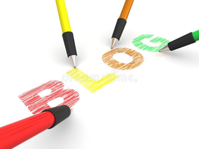 blog som visar blyertspennatext vektor illustrationer