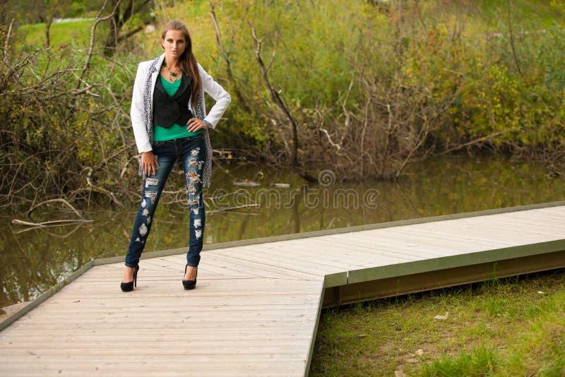 Blog style beautiful brunette woman in fashionable dress posing royalty free stock photo