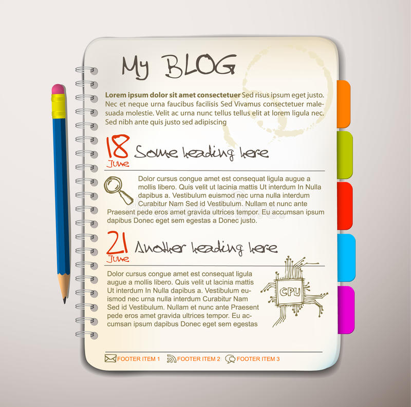 Blog web site template. Open notepad with colorful bookmarks vector illustration