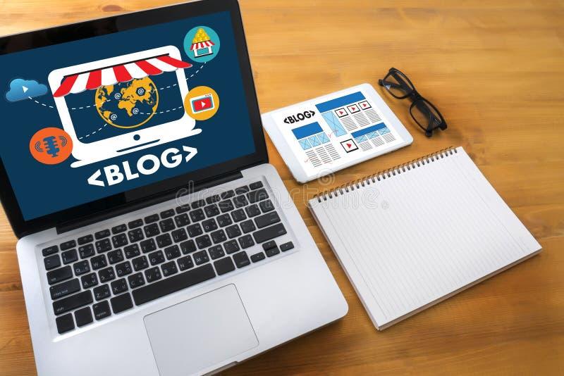 BLOG Website-on-line-Internet-Webseiten-Social Media-Verbindung N lizenzfreie stockfotos