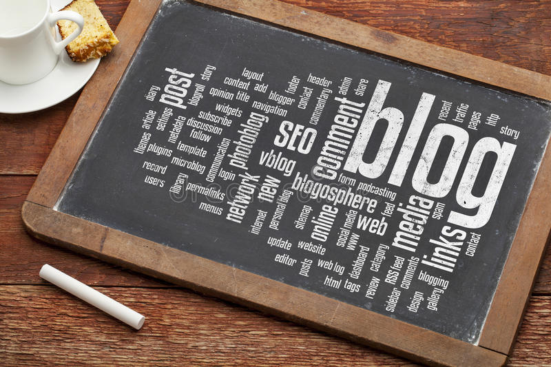 Blog word cloud on blackboard. Cloud of words or tags related to blogging and blog design on a vintage slate blackboard with a chalk and cup of coffee
