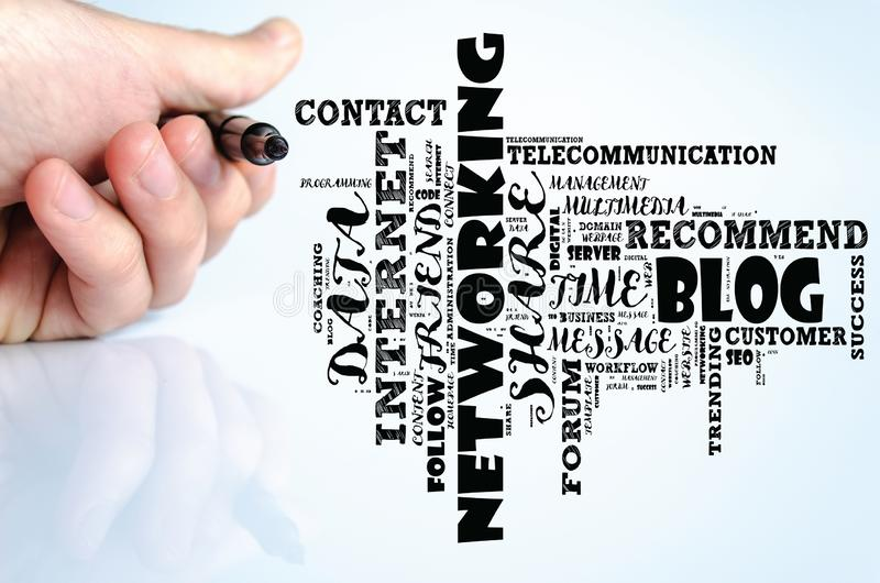 Blog word cloud collage stock image