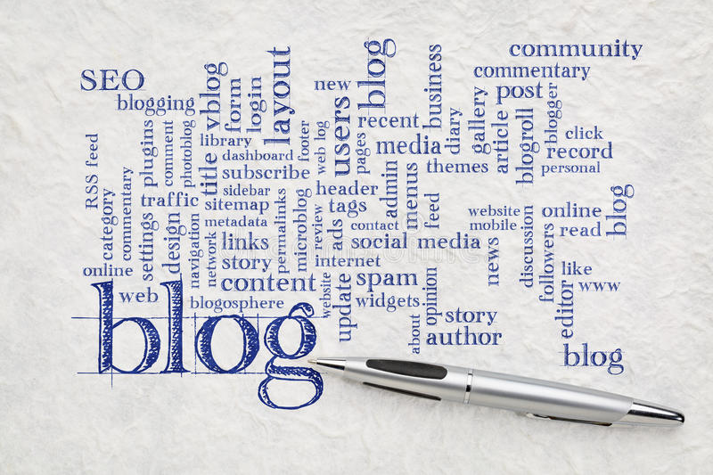 Blog word cloud on paper. Blogging and blog design word cloud - handwriting on a white textured lokta paper royalty free stock image