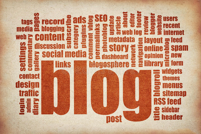 Blog word cloud - red printing on canvas stock images