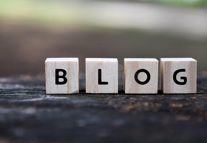 Blog word on wood blocks stock image