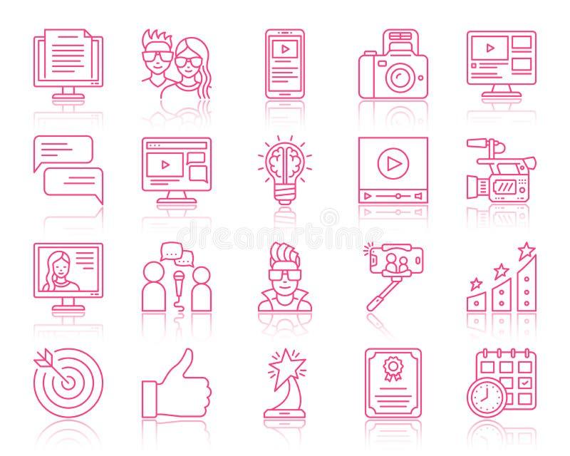Bloga koloru linii prostych ikon wektoru blogging set royalty ilustracja