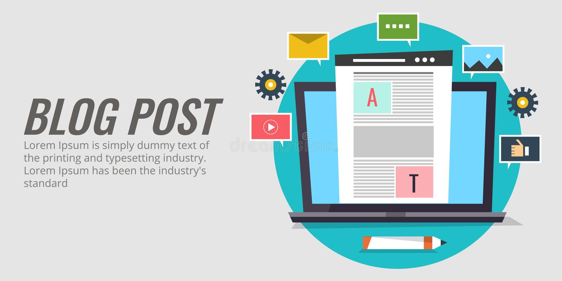 Blogbeitrag, zufriedene Veröffentlichung, Kommunikation mit Gemeinschaft, digitales Marketing-Konzept Blogging Vektorfahne des fl vektor abbildung