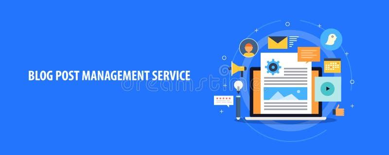 Blogbeitragsverwaltungsservice, Content Management-System für Netzblogs, flache Designvektorfahne stock abbildung