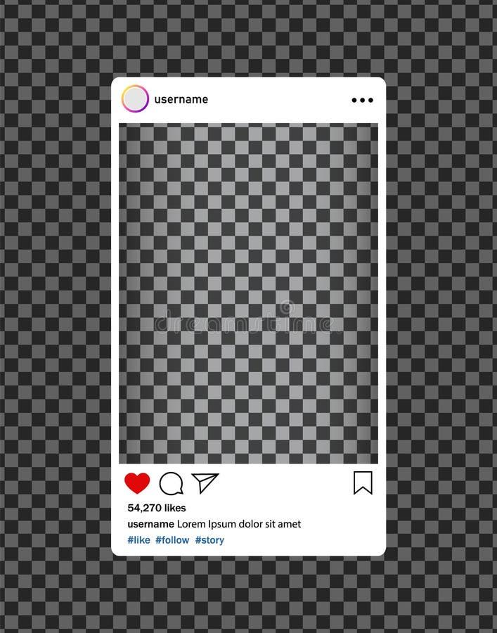 Bloger d'Instagram Cadre social de photo de médias avec le coeur, loupe Interface de courrier pour des médias sociaux Vecteur eps illustration libre de droits
