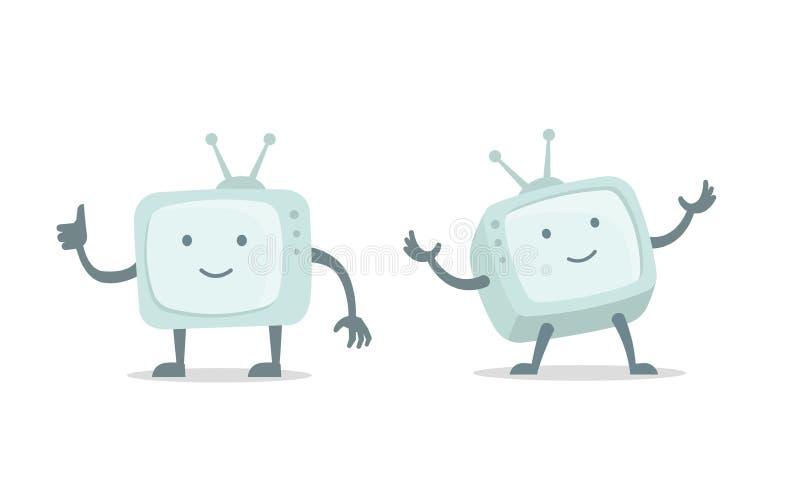 Bloger video Canal, cine TV con los brazos y juego de caracteres video de las piernas Ejemplo plano del vector del color libre illustration