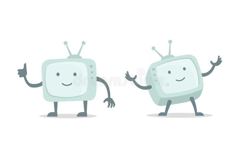 Bloger video Canal video, tevê do cinema com braços e jogo de caracteres dos pés Ilustração lisa do vetor da cor ilustração royalty free