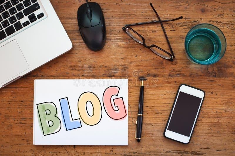 Blogg blogging begrepp royaltyfri bild