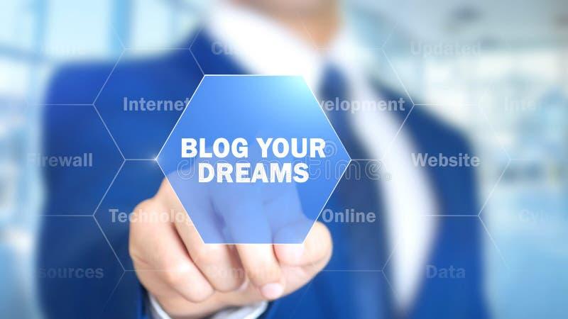 Blogg dina drömmar, man som arbetar på den holographic manöverenheten, visuell skärm royaltyfri fotografi