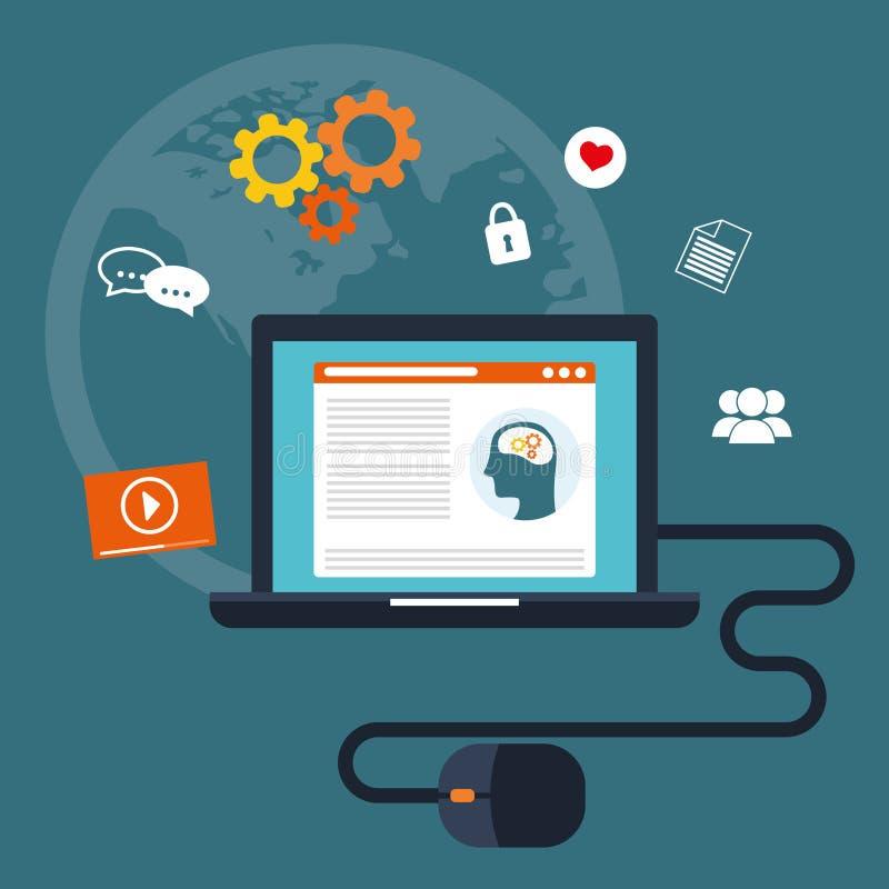 Blogg och teknologi stock illustrationer