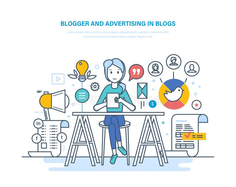 Blogger, που διαφημίζει στα blogs Εργασία στα κοινωνικά δίκτυα Περιεχόμενο MEDIA διανυσματική απεικόνιση