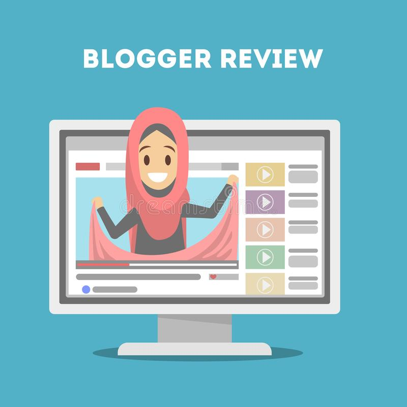 Blogger in computer royalty-vrije illustratie