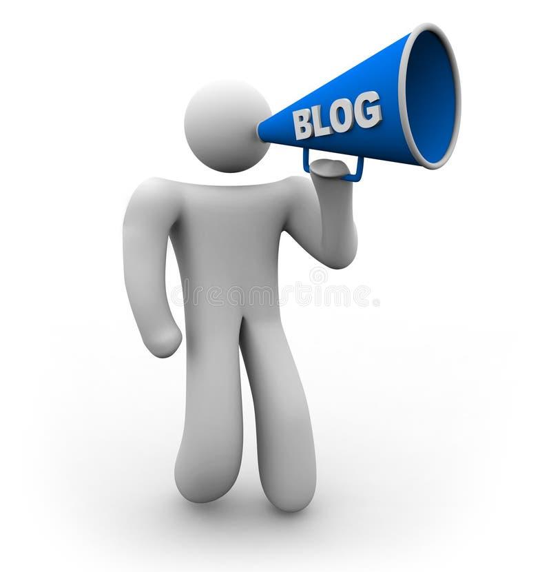 Blogger con el megáfono stock de ilustración