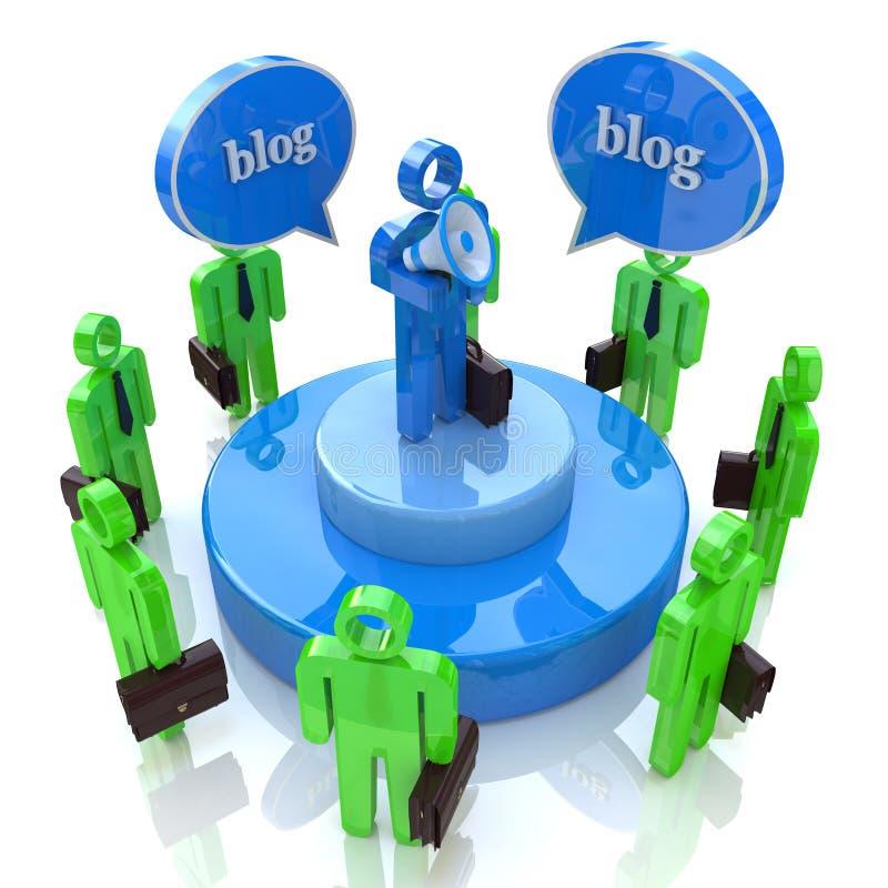 Blogger con megáfono y audiencia ilustración del vector