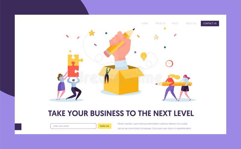 Blogger Creative Pencil Idea Banner. Business Creativity Concept Landing Page. Blog Portfolio Advertising for Website vector illustration