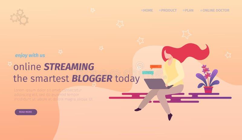 Blogger della ragazza che crea contenuto per i media sociali illustrazione di stock