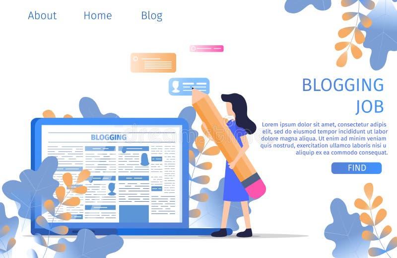 Blogger, der Job-on-line-Verfasser Occupation findet vektor abbildung