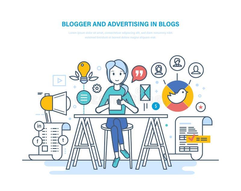 Blogger, die in bloggen adverteren Het werk in sociale netwerken Media inhoud vector illustratie