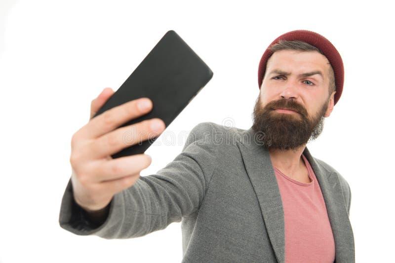 Blogger do estilo de vida Moderno considerável que toma a foto do selfie para o blogue pessoal Blogue em linha da vida da parte I foto de stock