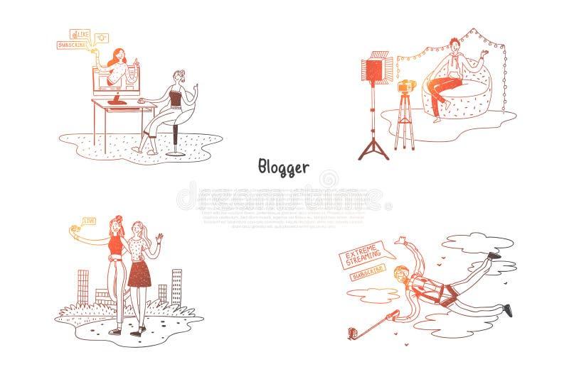 Blogger - dziewczyny i chłopiec bloggers robi photoes i wideo dla ich bloga pojęcia wektorowego setu ilustracji