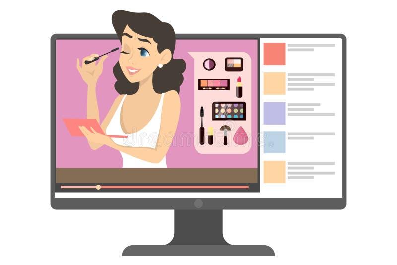 Blogger femenino del maquillaje en el ejemplo de Internet stock de ilustración