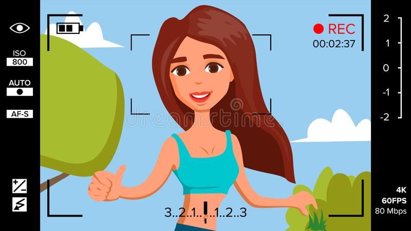Blogger Girl Records Video Blog Vector. Vlog Concept. Woman Online Internet Streaming Video. Handsome Female Leading. Online Stream Channel. Illustration royalty free illustration