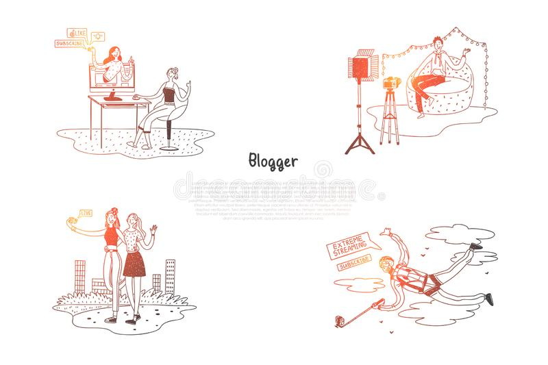 Blogger - girls and boys bloggers making photoes and videos for their blogs vector concept set stock illustration