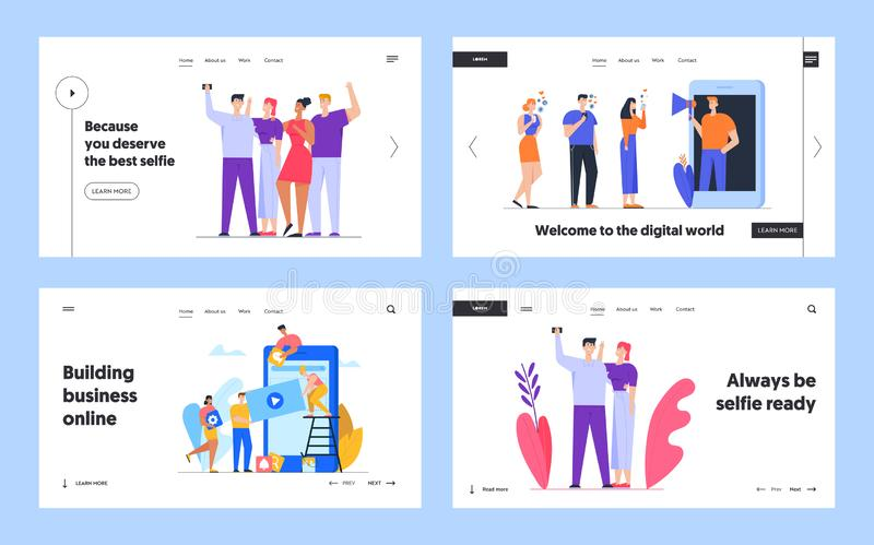 Blogger Influencer Developing Mobile Application Interface and Selfie Website Landing Page Set. Social Media Blogging. Friends Photographing, Ui Ux App Web royalty free illustration