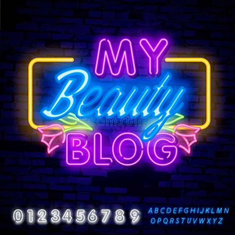 Blogger Mój piękno bloga neonowego znaka wektor Blogging projekta szablonu neonowy znak, zaświeca sztandar, neonowy signboard, śr royalty ilustracja