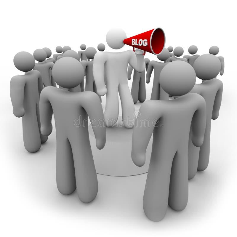 Blogger mit Megaphon und Publikum