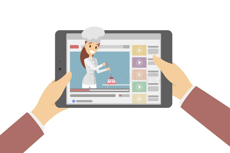 Blogger no computador ilustração stock