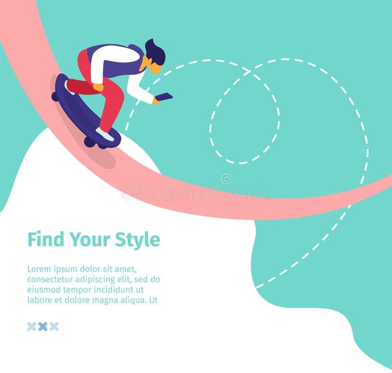Blogger på skateboarden, online-tryckning som Blogging stock illustrationer