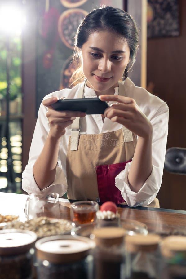 Blogger review cafe stock photos