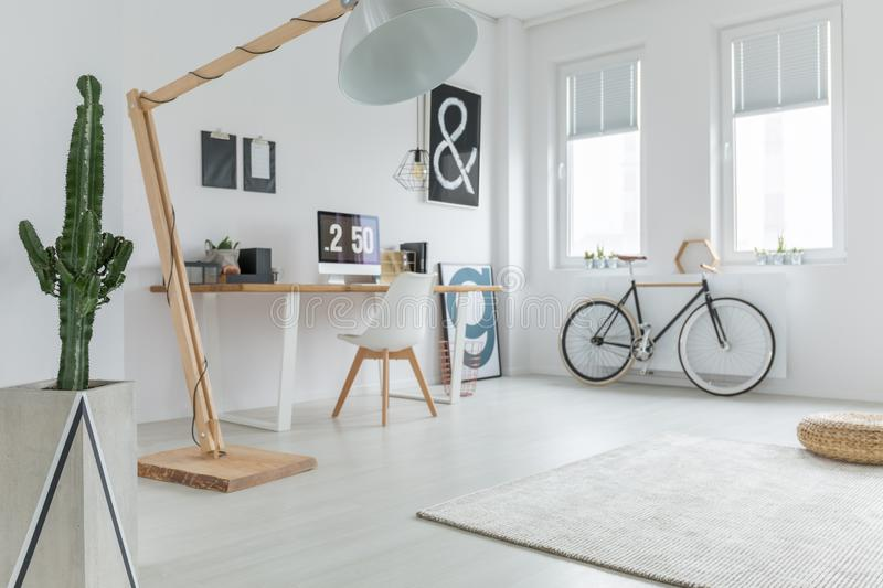 Blogger`s home office. Minimalist blogger`s home office with plant, rug and bike stock images