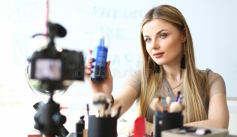 Blogger Work on Cosmetic Product Video Review stock images
