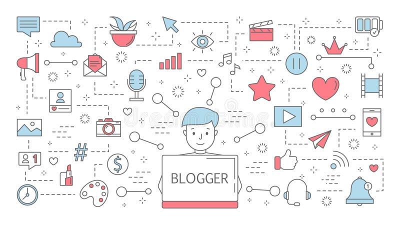 Bloggerconcept Idee van het stromen in Internet vector illustratie