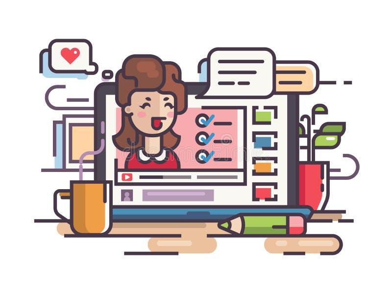 Bloggerflickan skriver artiklar och video vektor illustrationer