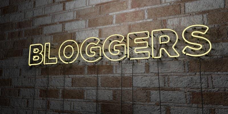 BLOGGERS - Glödande neontecken på stenhuggeriarbeteväggen - 3D framförde den fria materielillustrationen för royalty stock illustrationer