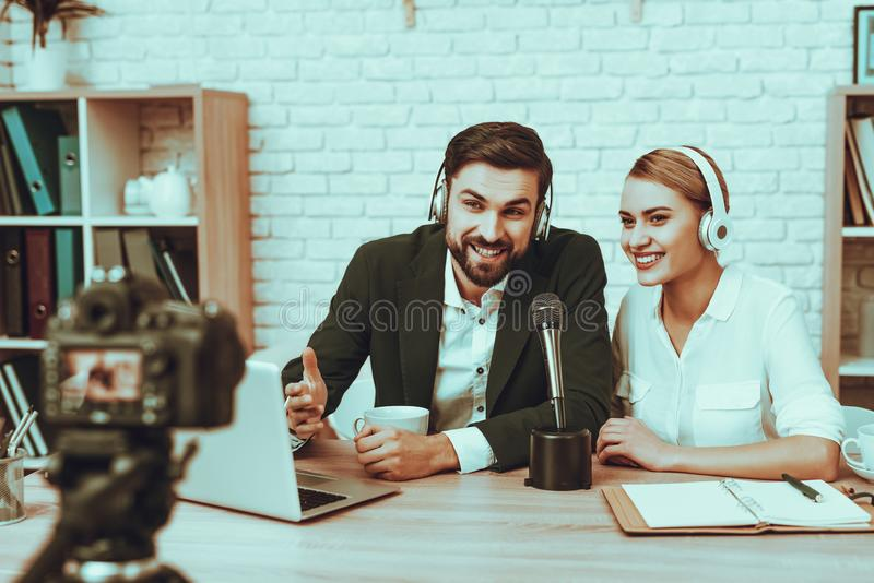 Bloggers makes a video about a business royalty free stock photo